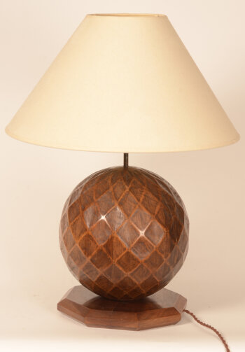a carved massive walnut lamp French 1940-1950's