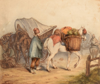 Watercolour of a travelling vegetable seller
