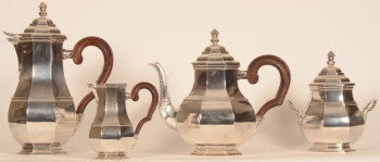 Wolfers Frères silver L XIV style coffee and tea set