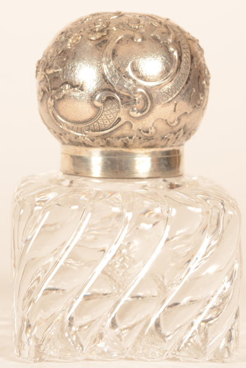 Wolfers Frères neo-LXV inkwell silver and crystal