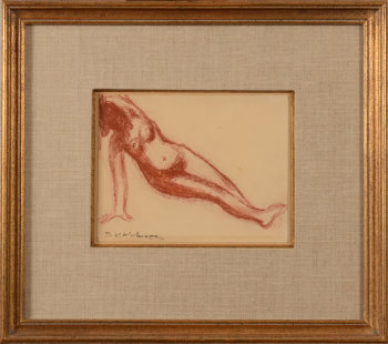 Henri Victor Wolvens reclining nude drawing