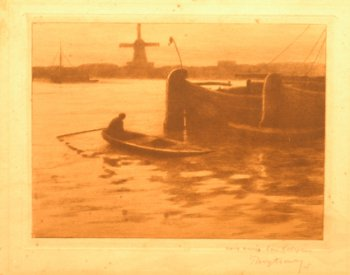 Rodolphe Wytsman boats on a river etching